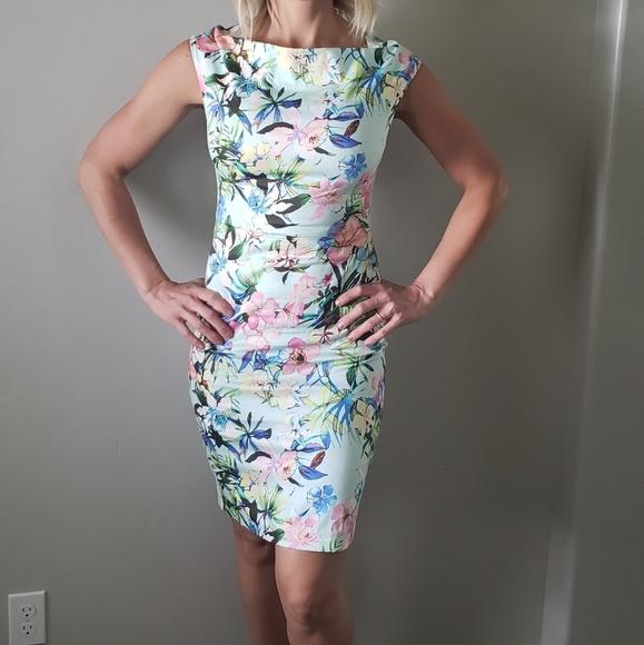 9e177277 Zara Dresses | Floral Boat Neck Mid Length Dress Size S | Poshmark